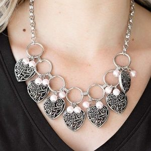 Silver Heart Charm Necklace W/ Pink Pearl Beads